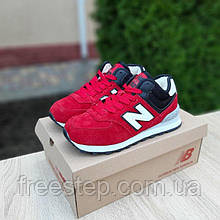 Жіночі зимові кросівки в стилі New Balance 574 червоні з чорним