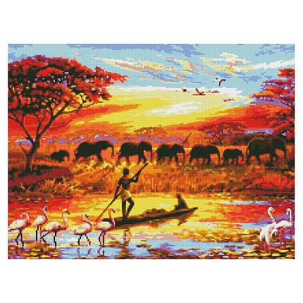 Алмазна вишивка (мозаїка) 50x60 см Життя Африки Strateg, фото 2
