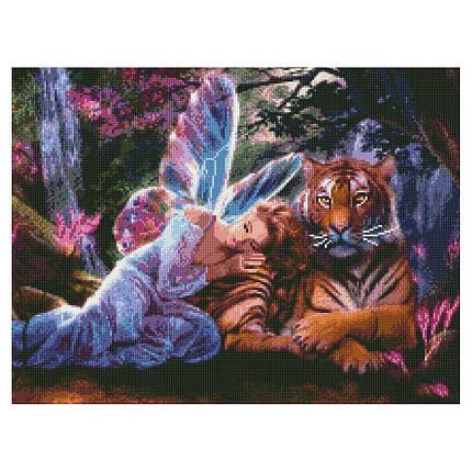 Алмазна вишивка (мозаїка) 50x60 см Спокій біля тигра Strateg, фото 2