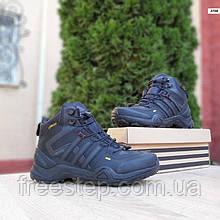 Чоловічі зимові кросівки в стилі Adidas Terrex 425 чорні з сірим високі