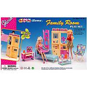Мебель для кукол Барби Глория гостинная с диваном, тумбой для теливизора, столиком, шкафчиком Gloria 21012