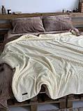 Велюровый Комплект постельного белья  Волна двухсторонний Шоколадно - бежевый, фото 4