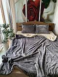 Велюровый Комплект постельного белья  Волна двухсторонний Шоколадно - бежевый, фото 7