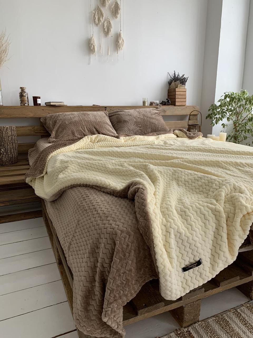 Велюровый Комплект постельного белья  Волна двухсторонний Мокко - Топленое молоко