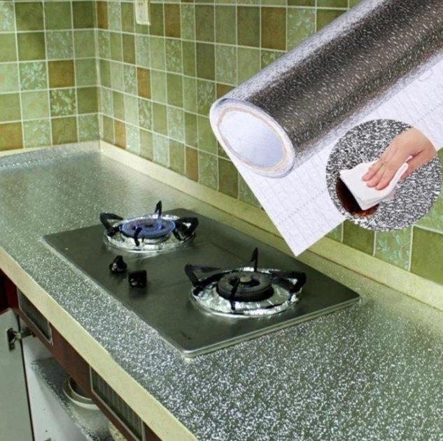 Фольга стикер самоклеющаяся на кухню 2,0 м Серебро