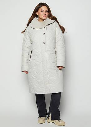 Зимний пуховик стеганное пальто цвет Молоко размерный ряд 54-64, фото 2