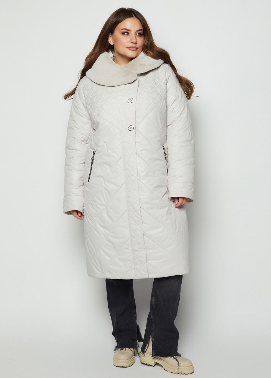 Зимний пуховик стеганное пальто цвет Молоко размерный ряд 54-64