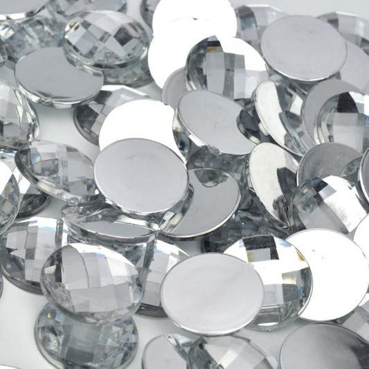 Камень клеевой круглый, 14 мм, белый (10 шт)