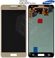 Дисплейный модуль (дисплей + сенсор) для Samsung Galaxy Alpha G850F, золотистый, оригинал