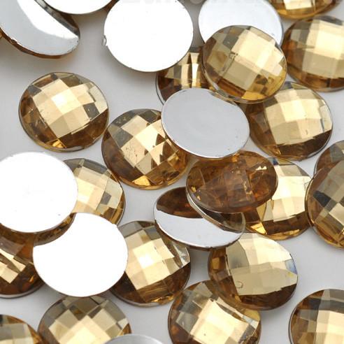 Камень клеевой круглый, 16 мм, шампань (10 шт)
