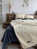 Велюровый Комплект постельного белья  Волна двухсторонний Антрацит - топленое молоко, фото 2