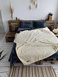 Велюровый Комплект постельного белья  Волна двухсторонний Антрацит - топленое молоко, фото 3
