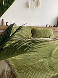 Велюровый Комплект постельного белья  Волна двухсторонний Антрацит - топленое молоко, фото 4