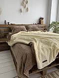 Велюровый Комплект постельного белья  Волна двухсторонний Антрацит - топленое молоко, фото 5