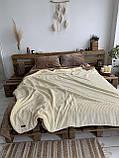 Велюровый Комплект постельного белья  Волна двухсторонний Антрацит - топленое молоко, фото 6