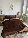 Велюровый Комплект постельного белья  Волна двухсторонний Антрацит - топленое молоко, фото 7