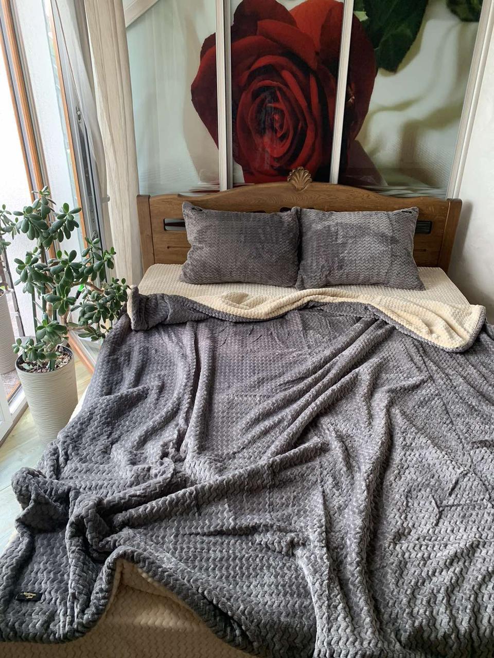Велюровый Комплект постельного белья  Волна двухсторонний Антрацит - топленое молоко