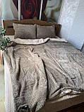 Велюровый Комплект постельного белья  Волна двухсторонний Антрацит - топленое молоко, фото 8