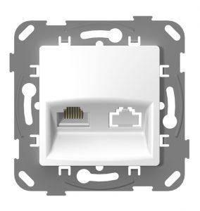 Розетка rj45 компьютерная plank белая, фото 2
