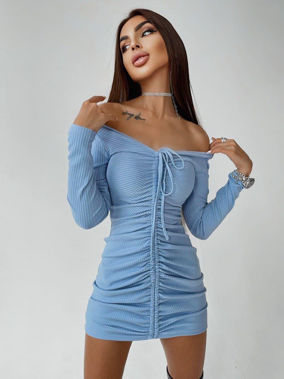Коротке плаття з затяжкою і відкритими плечах трендові довжиною міні (р. S, M) 66032952Е