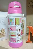 Термос детский с трубочкой розовый