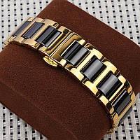 Браслет для часов из нержавеющей стали с керамическими звеньями, литой, полированный, золотисто-черный. 18 мм, фото 1