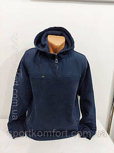 Тёплая кофта  SOCCER Турция тринитка с начесом втачной капюшон карманы худи темно синий прямой низ оригинал