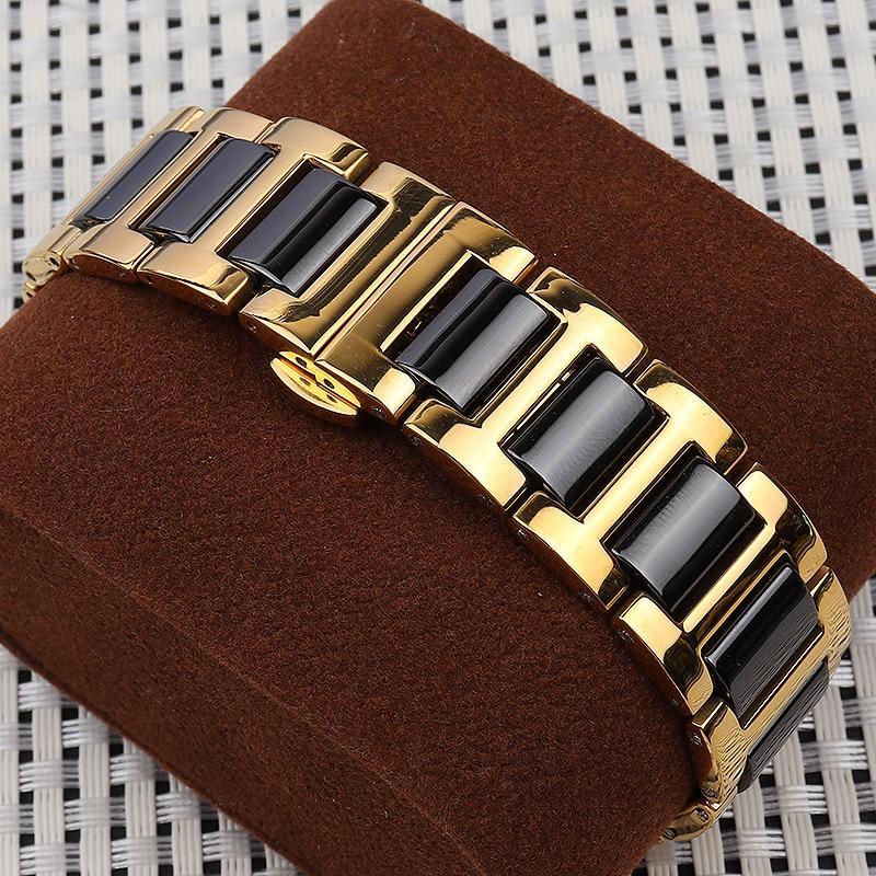 Браслет для часов из нержавеющей стали с керамическими звеньями, литой, полированный, золотисто-черный. 20 мм