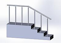 Перила из нержавейки(поручни) со стойками на каждой ступени