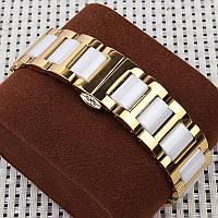 Браслет для годинника з нержавіючої сталі з керамічними ланками, литий, полірований, золотисто-білий. 22 мм, фото 1