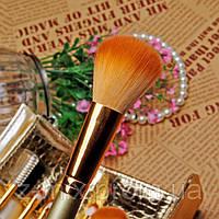 Набор кистей для макияжа 7 шт в золотом чехольчике