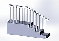 Перила из нержавейки с двумя стойками на каждой ступени