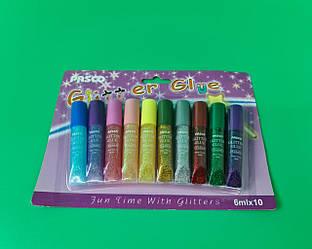 """Клей декоративний з глітером """"Pasco"""" 10 кольорів по 6 мл F-012 (1 шт)"""