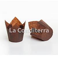 """Бумажные формочки для кексов """"Тюльпан"""", коричневые (150 шт., d=35 мм, высота бортика=35/50 мм), фото 1"""