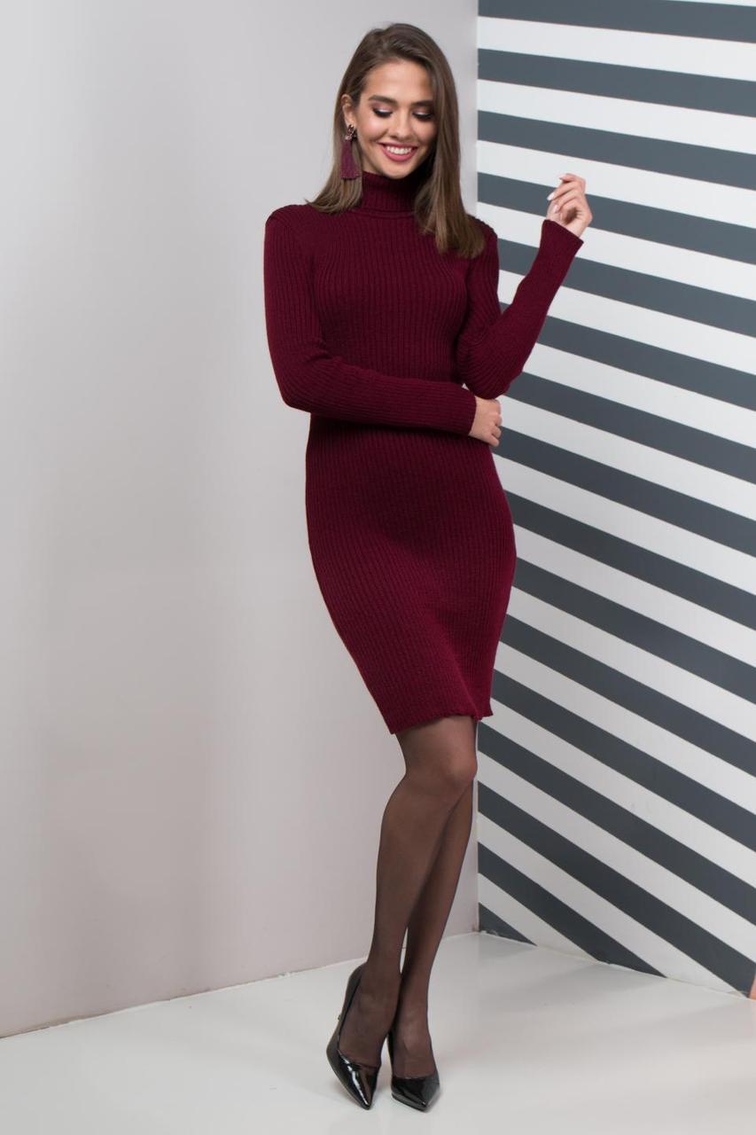 Теплое платье для офиса Basic марсала