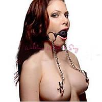 Кляп шарик кожа БДСМ + зажимы на грудь