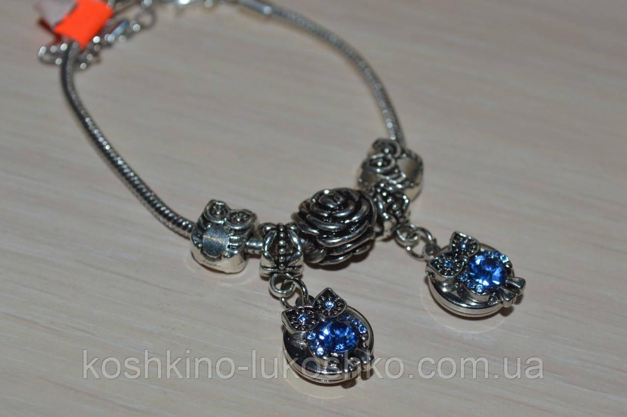 браслет с бусинами в стиле Пандора  Совы.