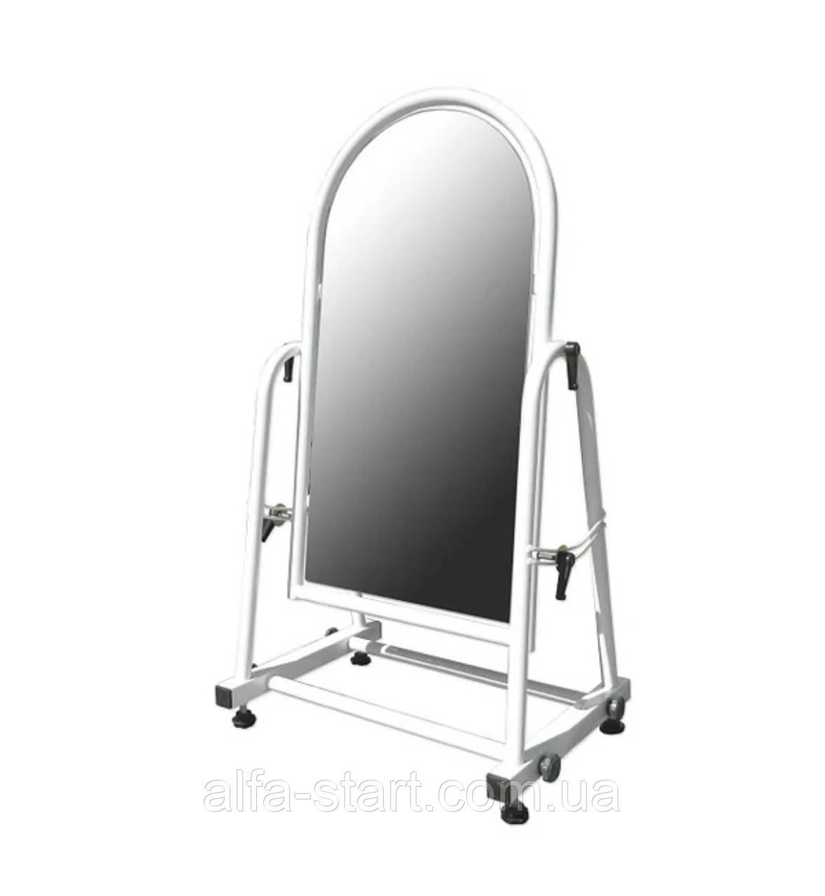 Металеве торговельне дзеркало білого кольору для примірки взуття