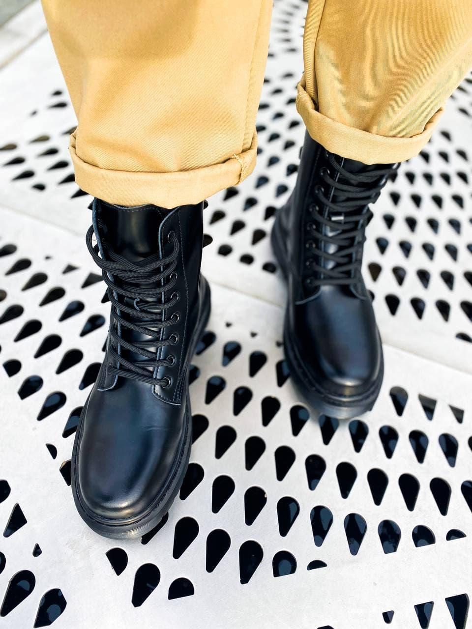 Жіночі зимові черевики Dr.Martens 1460 Mono Black Premium(FUR) (чорні) К3310 стильне взуття на хутрі