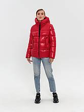 Жіноча зимова куртка пуховик DK-33, лаке червона