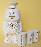 Подарочный набор из фарфора штоф Военнослужащий и стакан гранёный 3 шт