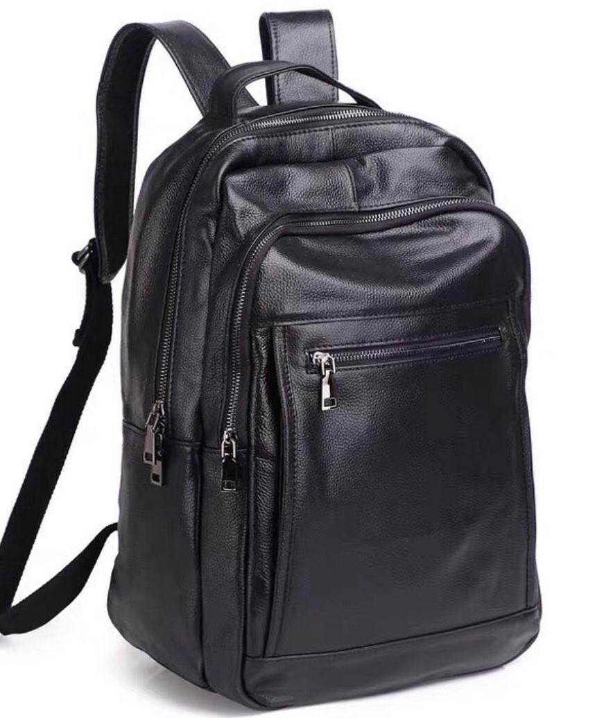 Чоловічий шкіряний рюкзак для ноутбука і поїздок Tiding Bag B2-14657A чорний