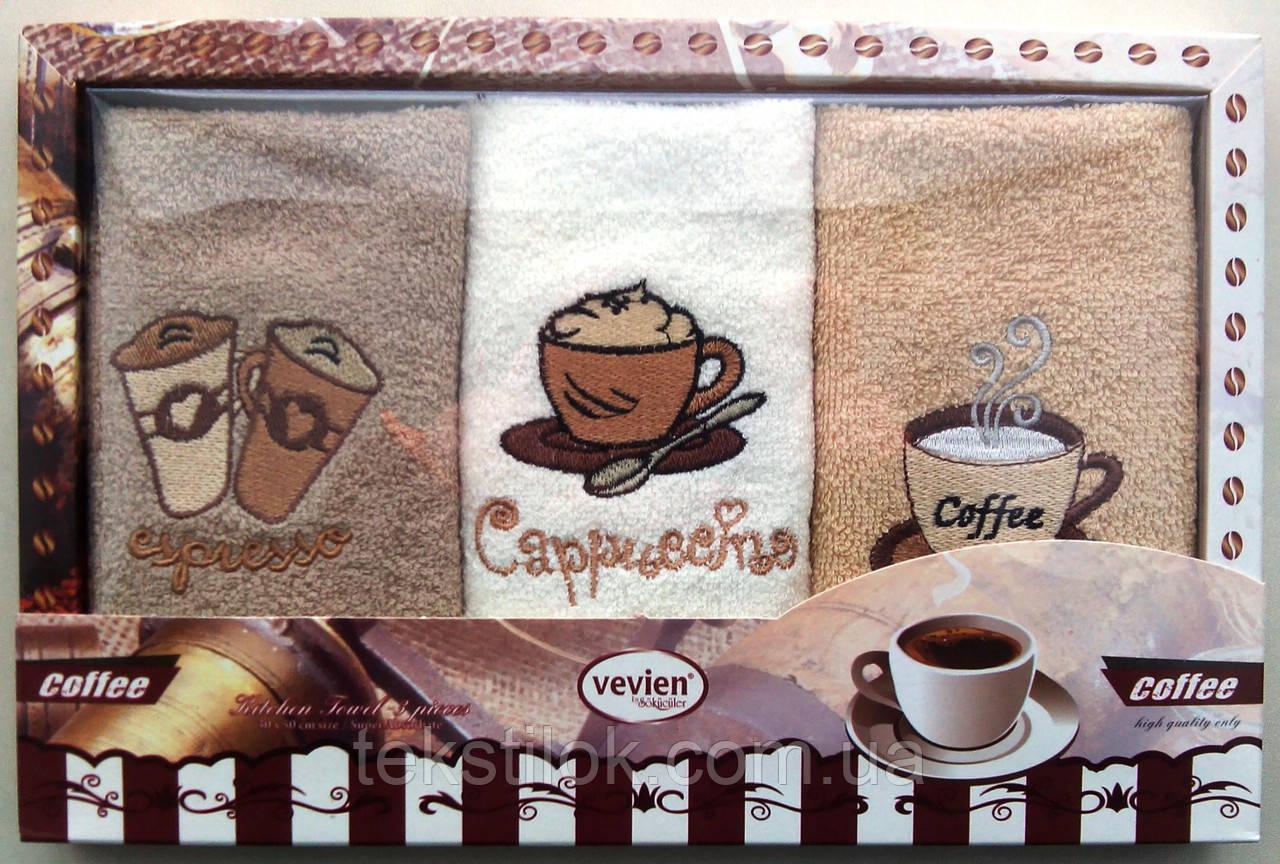 Набор махровых салфеток Vevien для кухни (Кофе) 30*50 Турция