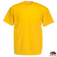Футболка мужская, хлопковая Valueweight T от Fruit of The Loom , жёлтая, оранжевая, футболки под печать