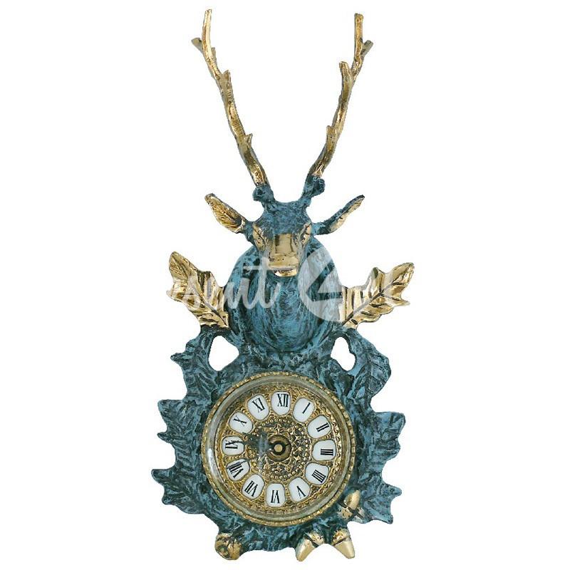 Часы «Голова оленя», бронза, 34х16 см.