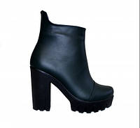 Ботинки зеленые кожаные женские демисезонные на высоком каблуке, фото 1