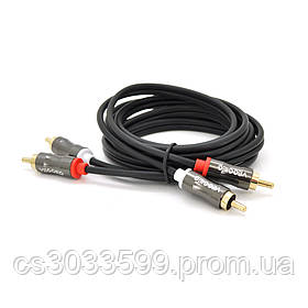 Кабель VEGGIEG AV201 Audio-Video 2хRCA (тато) => 2хRCA (тато), GOLD connector,  круглий, Black, 1,5 м, Пакет
