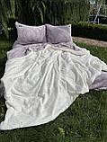 Велюровый Комплект постельного белья  Узор Барокко  двухсторонний Лиловый - молоко, фото 3