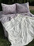 Велюровый Комплект постельного белья  Узор Барокко  двухсторонний Лиловый - молоко, фото 4