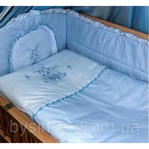 """Детское постельное белье в кроватку """"Вышивка Пчелка"""" Сатин"""